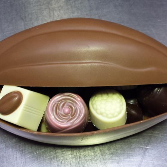 chocolade cacaovrucht gevuld