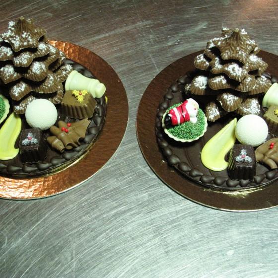 Chocolade kerst tafereel