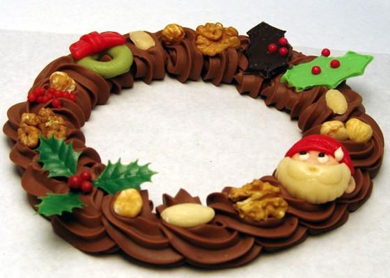 Room chocolade kerstkrans