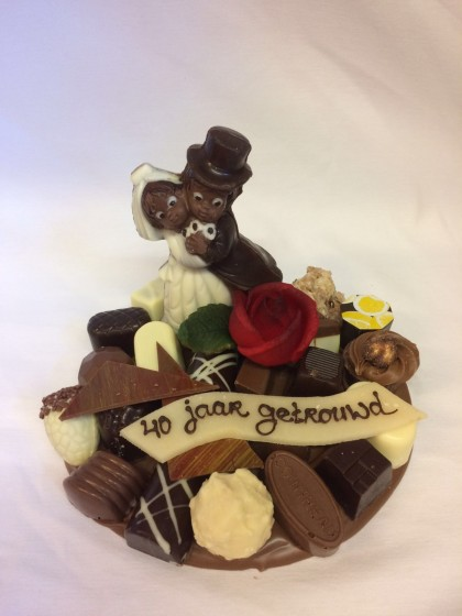 Chocolade stukje 40 jaar getrouwd