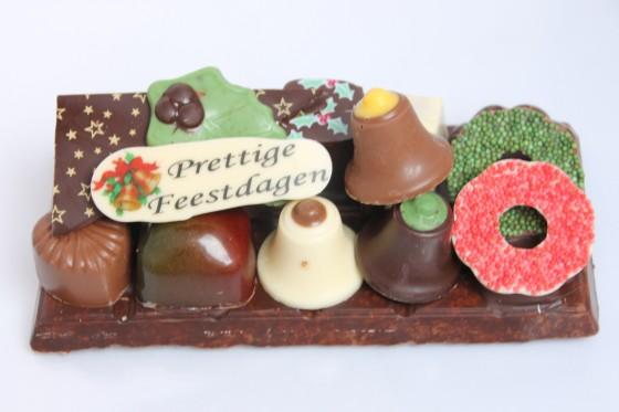 Kerst chocolade plateau op rechthoekige reep