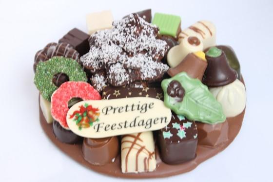 Kerst chocolade plateau rond met boom