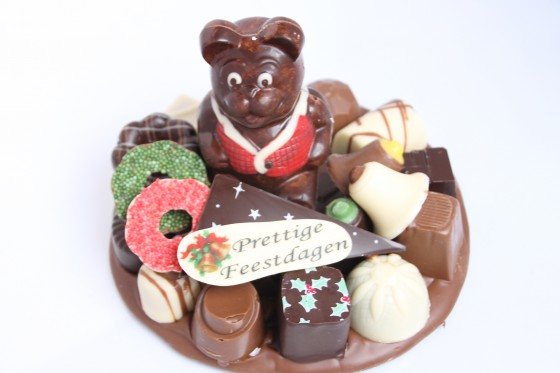 Kerst chocolade plateau rond